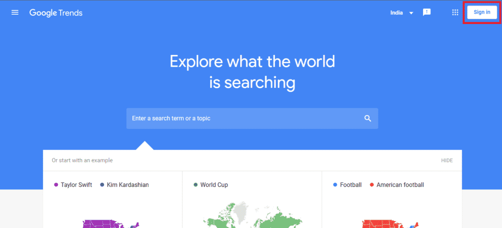 Google Trends sign in